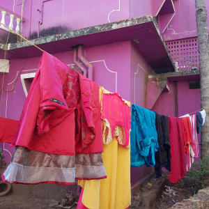 Colourful washing line