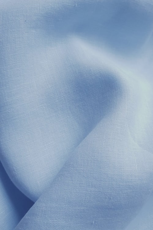 Close up of linen hand dyed with Dylon vintage blue