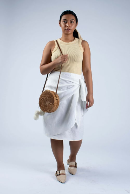 Lydia white linen wrap skirt from Cut Couture