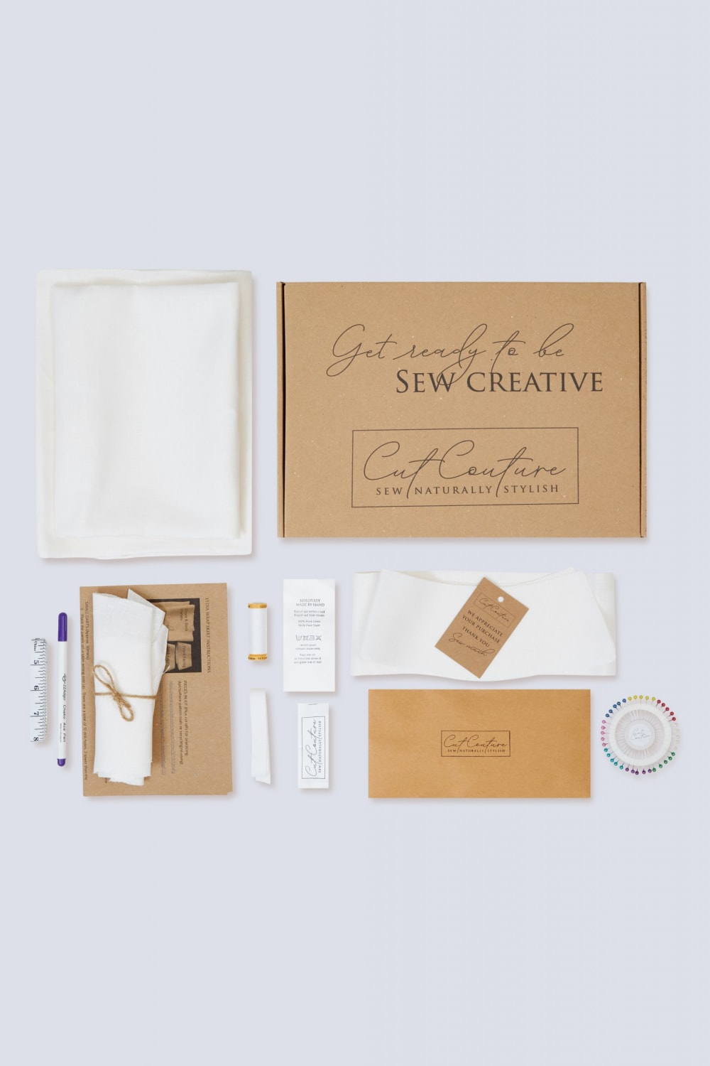 Lydia linen skirt sewing kit contents and packaging