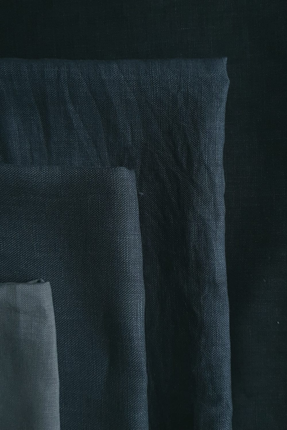 shades of Dylon black on Cut Couture linen hand dyed