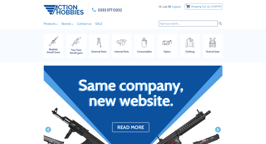 Screenshot of Action Hobbies new website