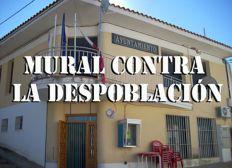 Mural contra la despoblación en Portalrubio