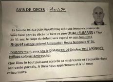 Pour la famille de Ouali Slimane