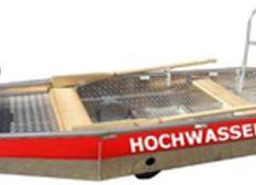 Hochwasserboot mit Anhänger für Katastrophenschutz