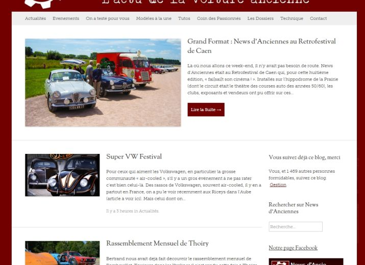 Projet News d'Anciennes : l'actualité de la voiture ancienne sur Internet