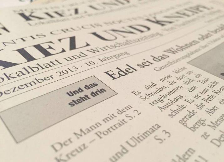 Unterstützung für Kreuzberger Kiezzeitung »Kiez und Kneipe«