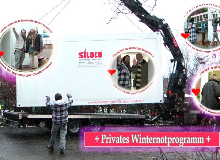 Wohncontainer für Obdachlose aufstellen - Winter 2019