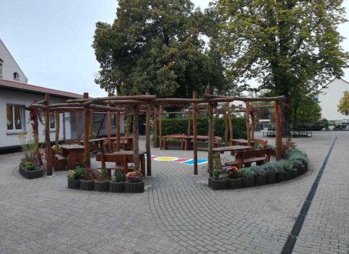 Ein Sonnensegel für das Grüne Klasserzimmer Grundschule Bennewitz