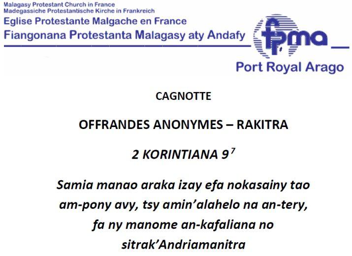 FPMA PORT ROYAL ARAGO - RAKITRA