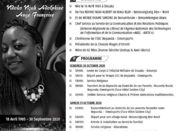 Adieu Ndoko Njah Ange Adolphine Francoise