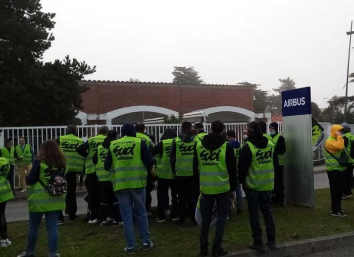 solidarite grevistes nettoyage AIRBUS Toulouse