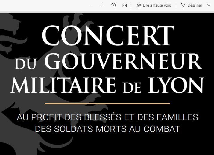 Concert du Gouverneur militaire de Lyon 2020 - Dons pour les soldats blessés et aux familles des soldats morts en opération