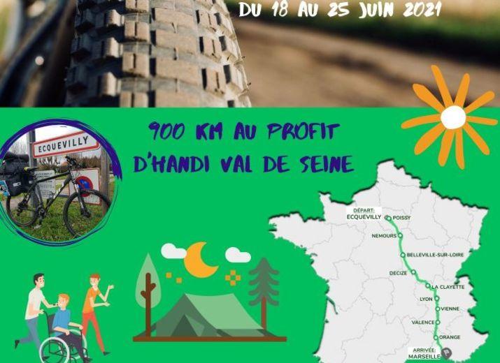 Ecquevilly  Paris Marseille en VTT en soutien au Handicap