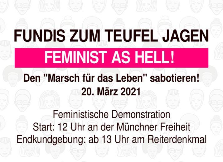 """Proteste gegen den """"Marsch für das Leben"""" am 20.3.21 in München"""