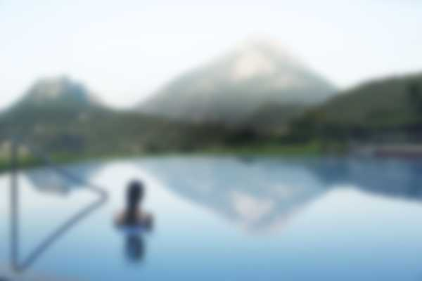View of Pizzolo Mount from Lefay Resort & SPA indoor and outdoor pool