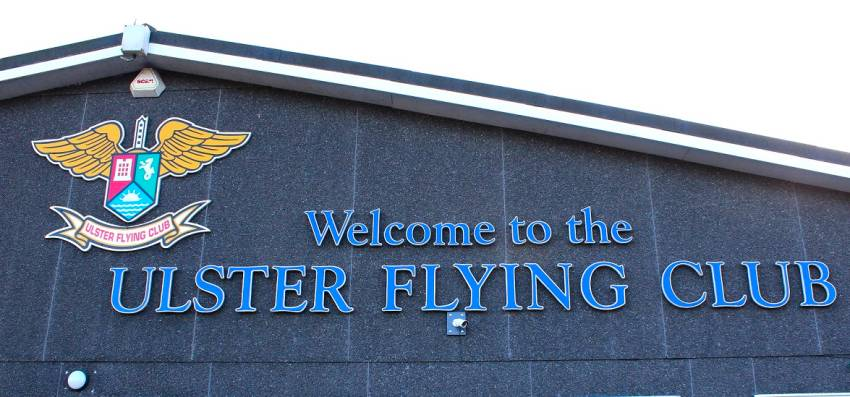 Ulster Flying Club logo on the clubhouse