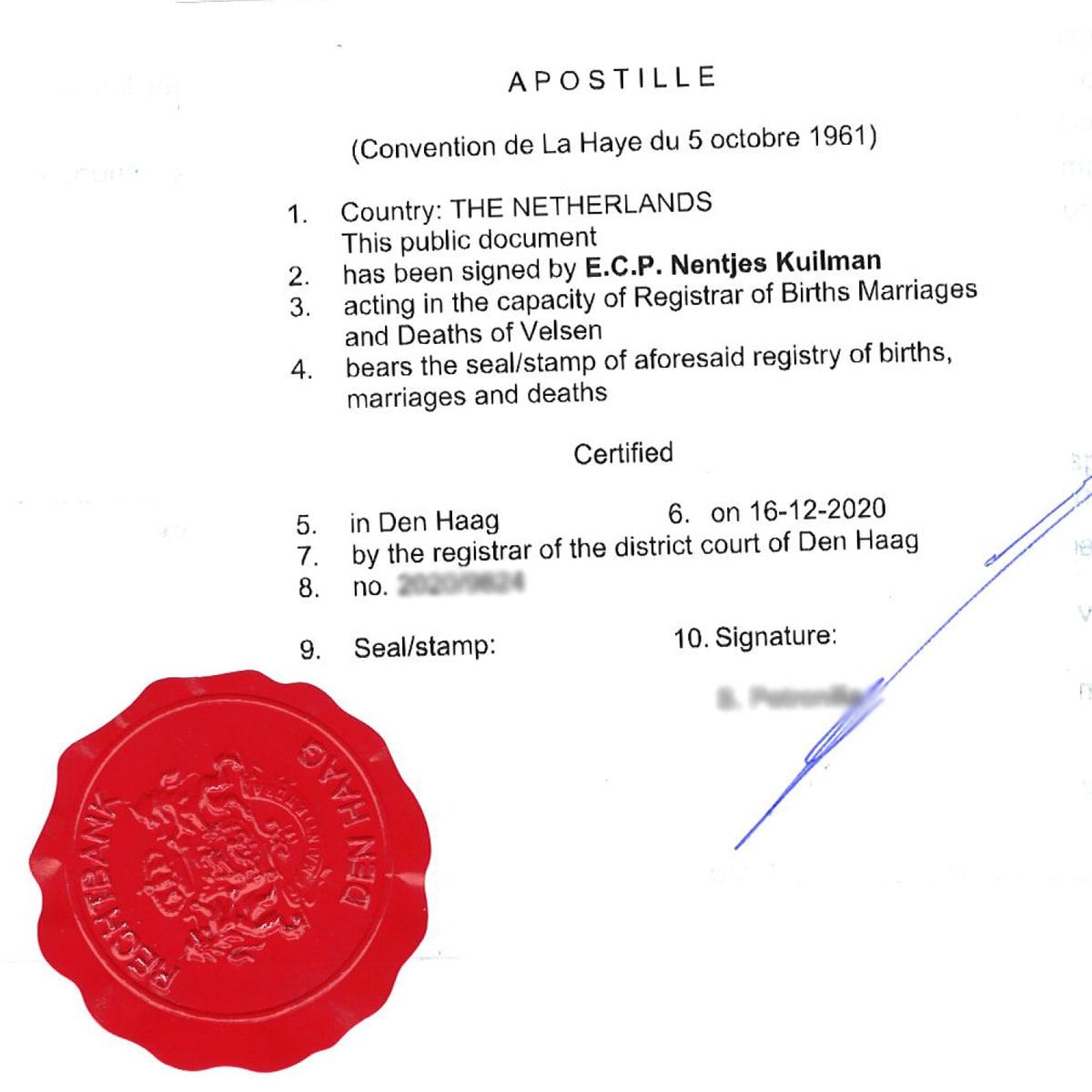 Apostila z Nizozemska