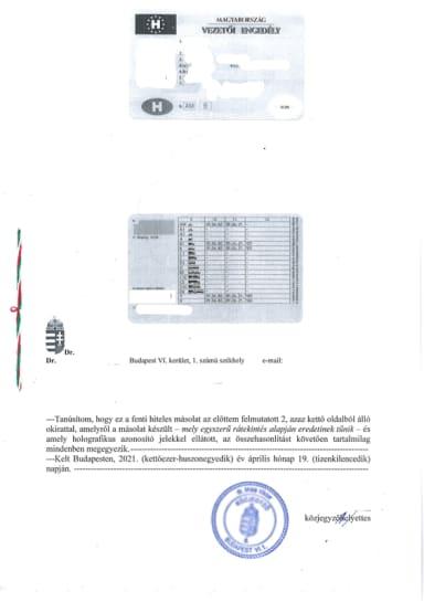 Řidičský průkaz z Maďarska