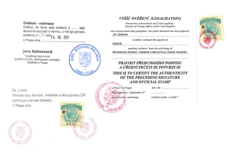 Legalizační doložky diplom do Egypta
