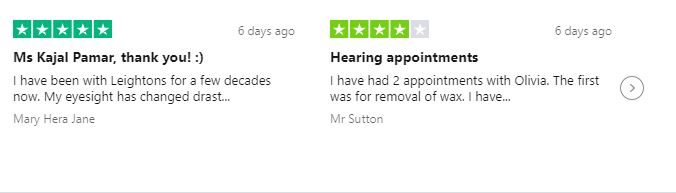 Second Trustpilot reviews carousel for Leightons Hearing Care: 5 stars and 4 stars