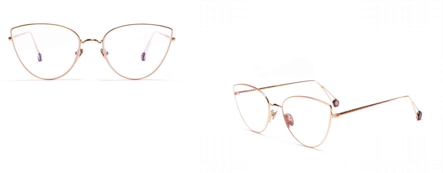AHLEM golden slimline framed spectacles