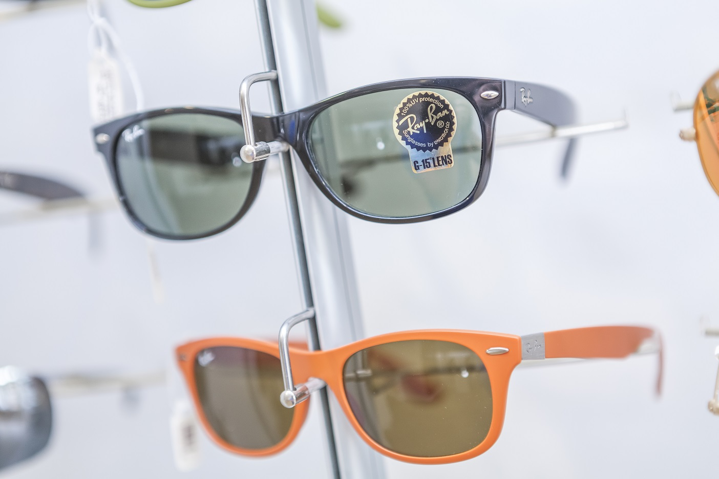 Ray-Ban frames on display in branch