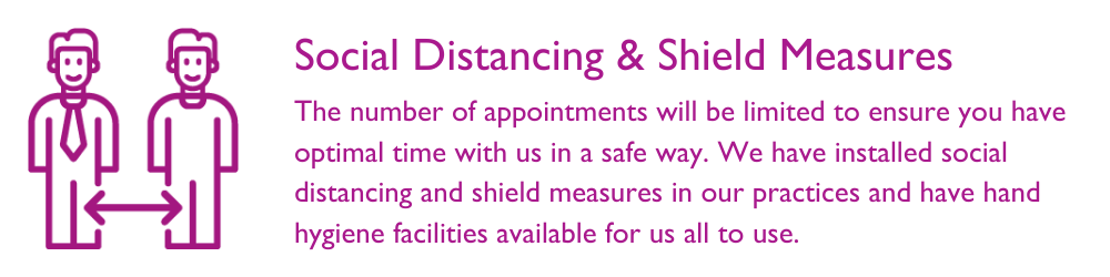 We have installed social distancing measures and we'll explain as you travel around the practice