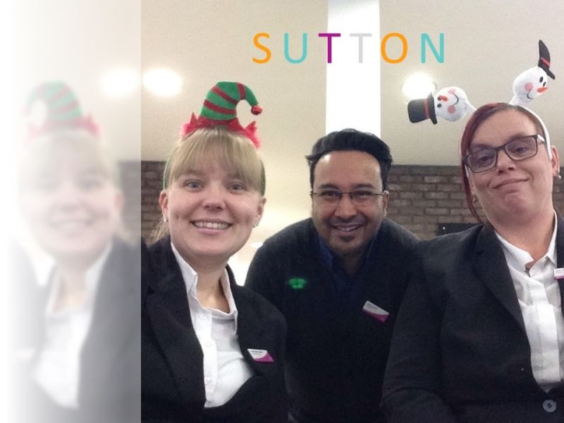 Sutton text and Leightons staff in Christmas accessories