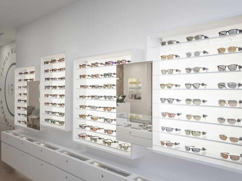 Display of sunglasses in shop