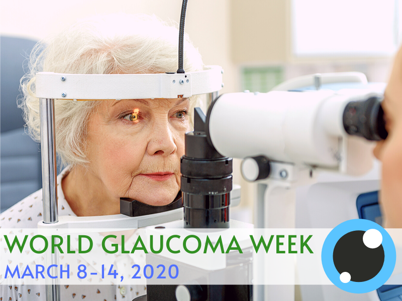 World Glaucoma Week text and old woman having eye test