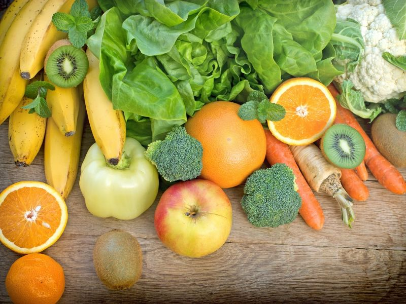Variety of fruit and vegetables