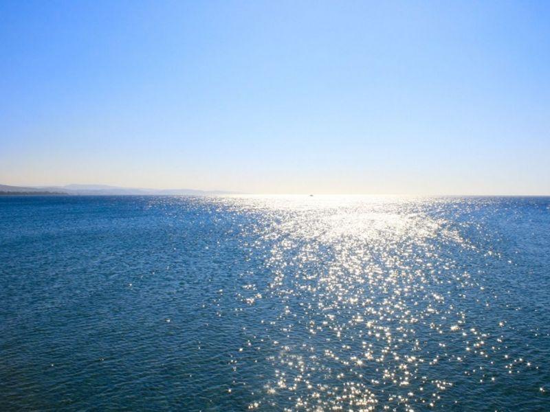 Sun reflecting off sea