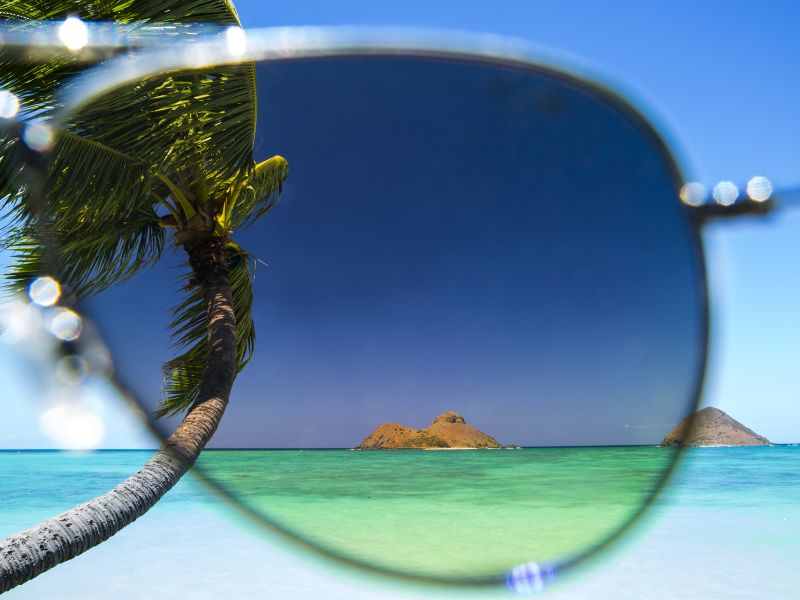 View of Island through pair of sunglasses