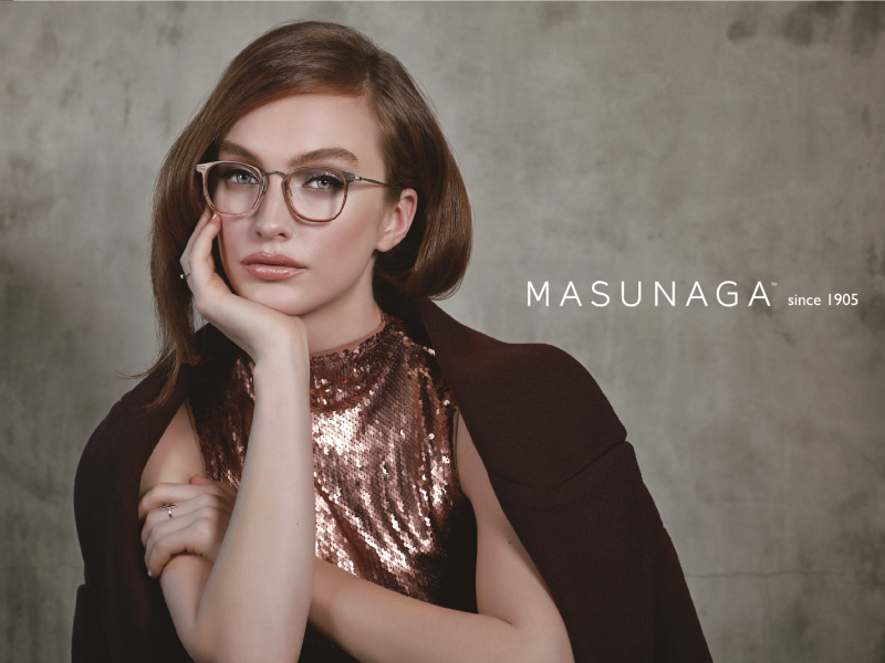 Model wearing Masunaga glasses