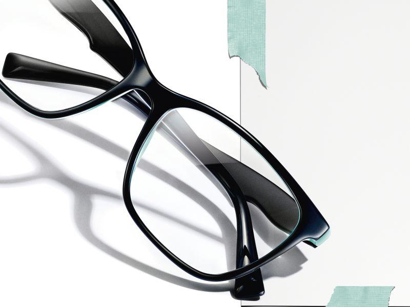 Tiffany glasses and sunglasses in shop window