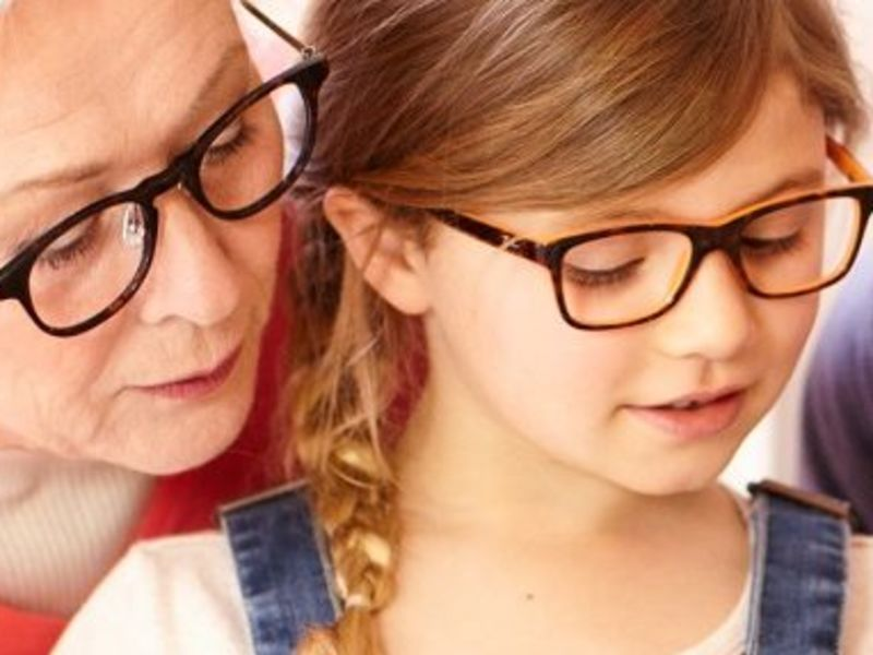 Woman and child wearing glasses