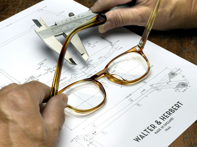 Walter and Herbert glasses on technical drawing