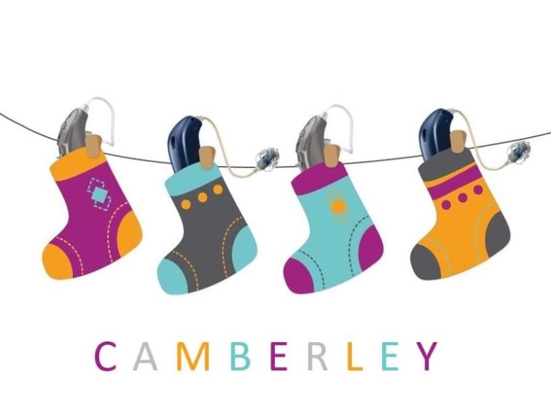 Camberley text and hearing aids in stockings