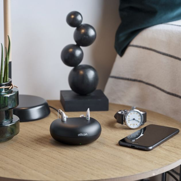 oticon opn s rechargeable on table