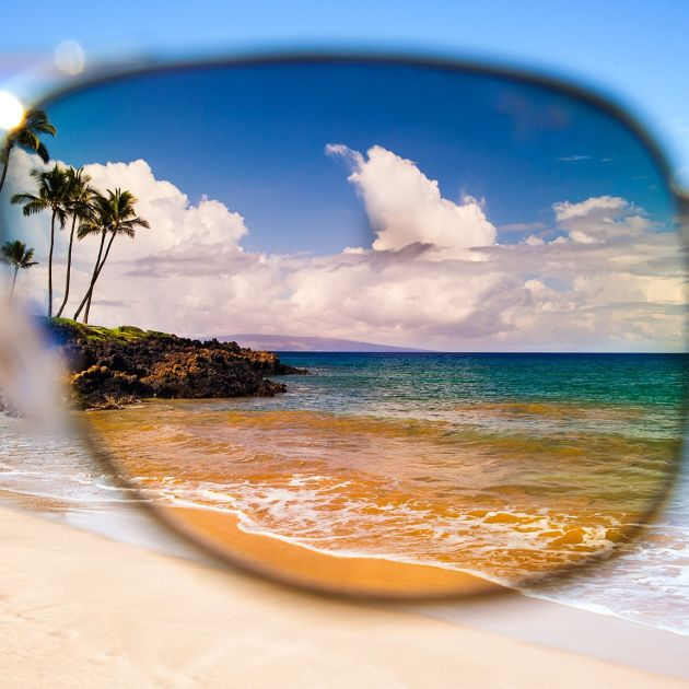 looking through sunglasses lens