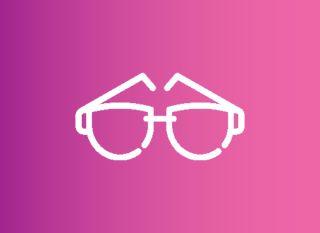 glasses icon on fuchsia gradient
