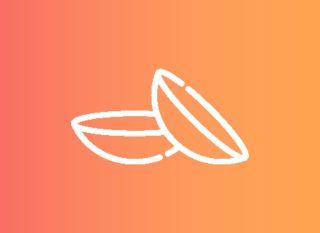 contact lens icon on orange gradient