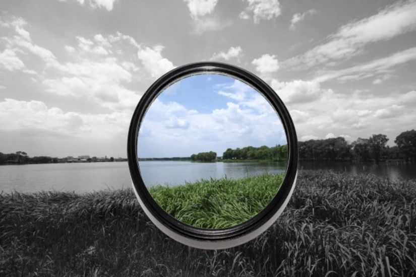 view through lens