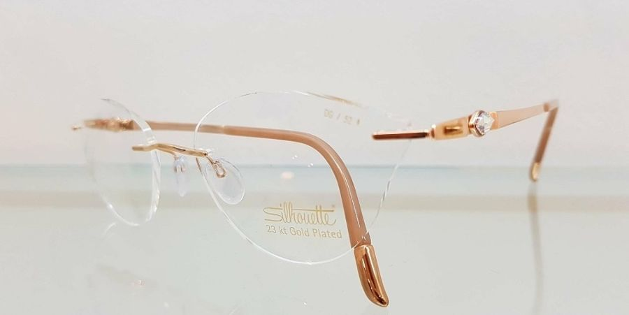 silhouette rose gold glasses