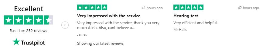 First Trustpilot reviews carousel for Leightons Hearing Care: 5 stars