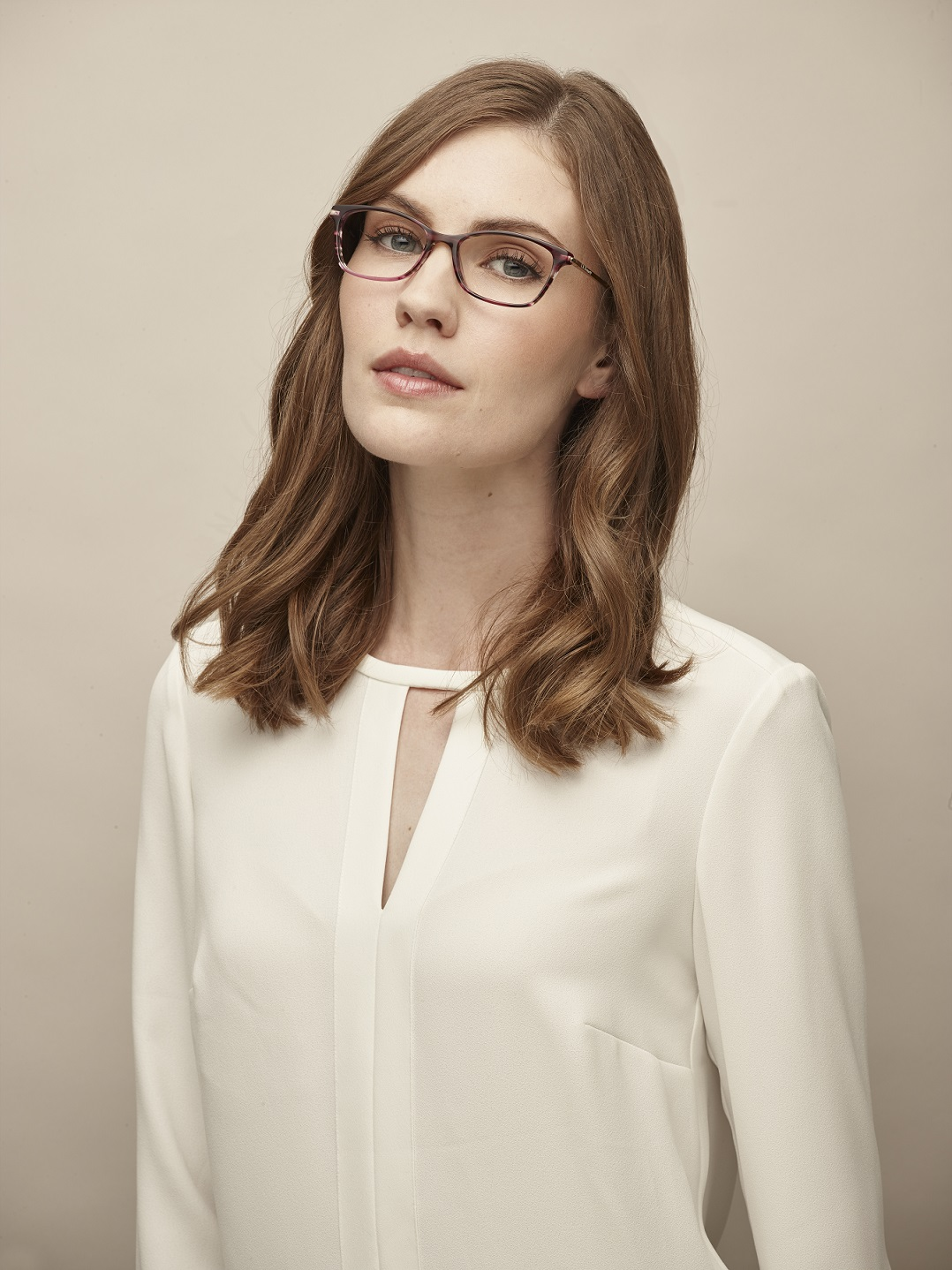 model wearing glasses