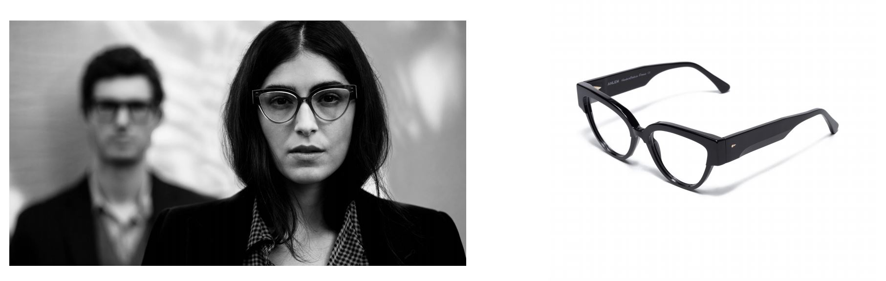 AHLEM Black and White woman and glasses 50:50