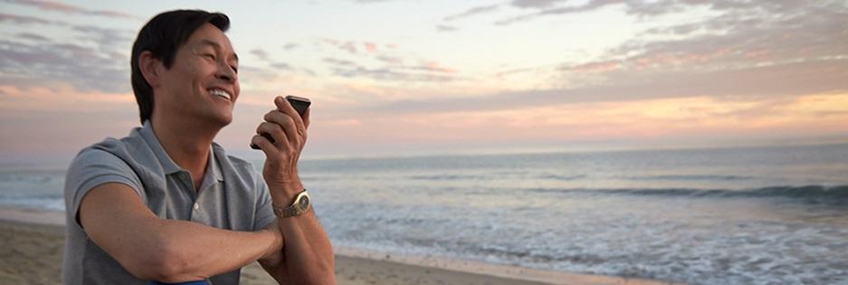 man talking into phone