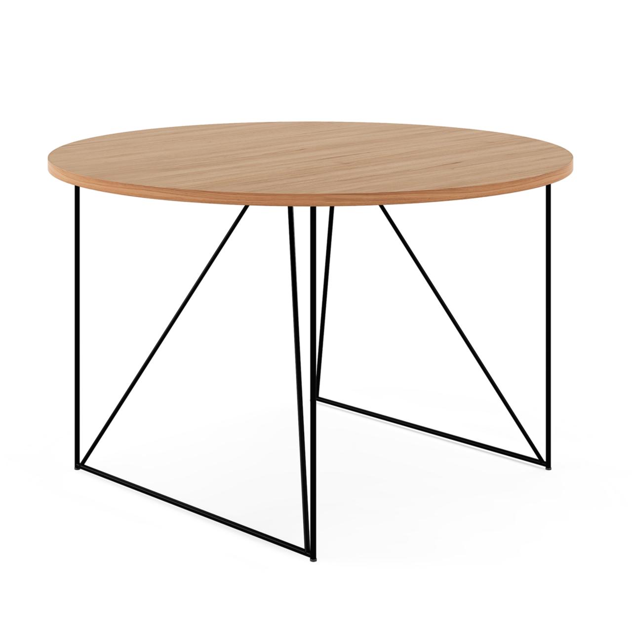 Besprechungstisch Ole - Industrielles Bürodesign mit Platte in Bernstein-Eiche-Optik Eleganter Look dank filigranem Metallgestell. Nutzung für bis zu 4 Personen möglich.